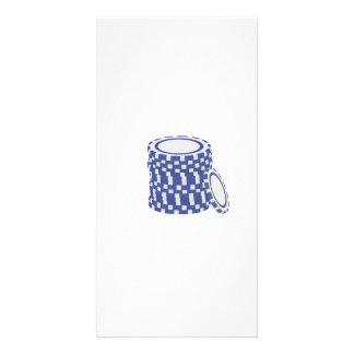 Blue poker chips custom photo card