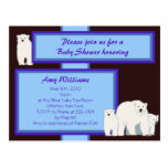 Blue Polar Bears Postcard Shower Invitation