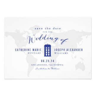 Blue Police Box Save the Date Invites