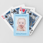 Blue Polka Dot Baby Boy Photo Template Playing Cards