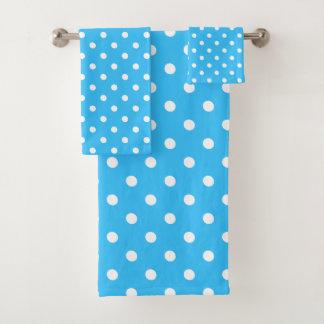 Blue Polka Dot Bath Towel Set