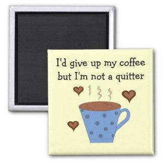 Blue Polka Dot Coffee Mug with Saying Square Magnet