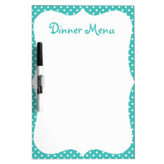 Blue Polka Dot Dinner Menu Dry Erase Board