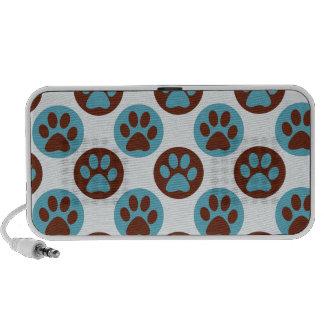 Blue Polka Dot Dog Paw Pattern iPod Speaker
