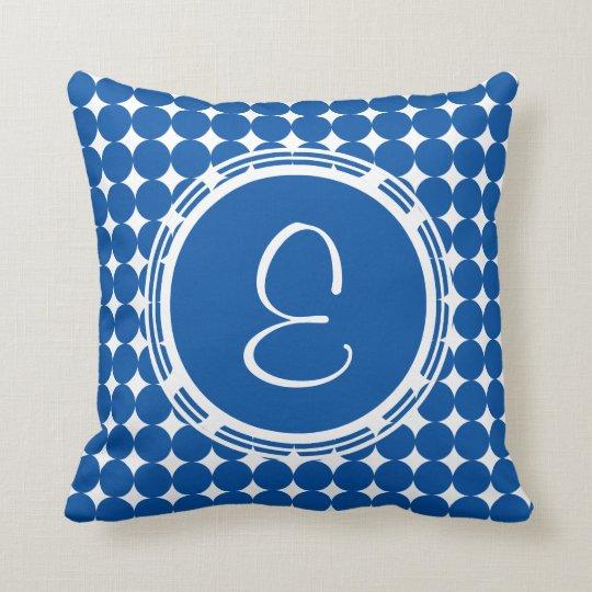 Blue Polka Dot Monogram Cushion