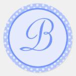 Blue Polka Dot Monogram Initial Sticker