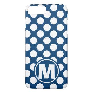 Blue Polka Dot Monogram iPhone 7 Plus Case