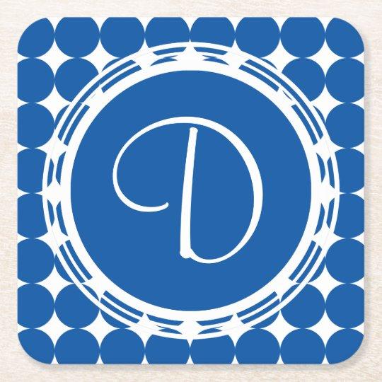 Blue Polka Dot Monogram Square Paper Coaster