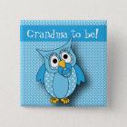 Blue Polka Dot Owl | Baby Shower Theme 15 Cm Square Badge