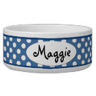 Blue Polka Dot Personalised Ceramic Dog Bowl