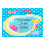 "Blue Polka Dot Pool Party Girls Birthday Invite 5"" X 7"" Invitation Card"