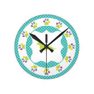 Blue Polka Dot Rainbow Paw Print Dachshund Round Clock