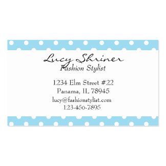 Blue Polka Dot Retro Style Fashion Cards Double-Sided Standard Business Cards (Pack Of 100)