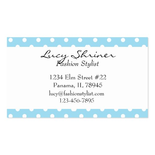 Blue Polka Dot Retro Style Fashion Cards Business Cards