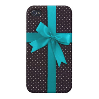 Blue Polka Dot Ribbon iPhone 4 Case