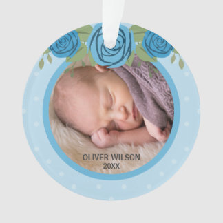 Blue Polka Dot Roses Baby's First Christmas Photo Ornament