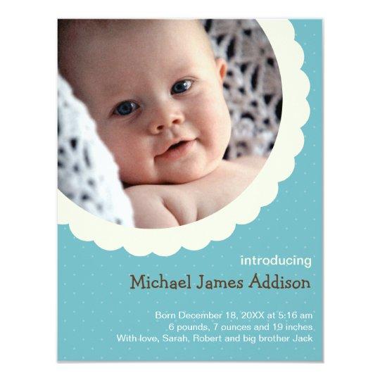 Blue polka dot rosette photo cute baby birth card