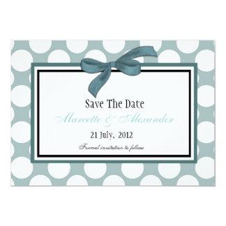 Blue Polka Dot Save The Date Card