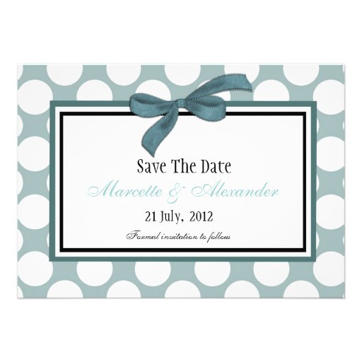 Blue Polka Dot Save The Date Personalized Invitation