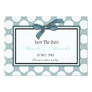 Blue Polka Dot Save The Date 5x7 Paper Invitation Card