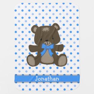 Blue Polka Dot Teddy Bear Personalized Buggy Blankets