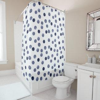 Blue polka dot . watercolor shower curtain