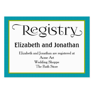 Blue Polka Dot Wedding Registry Card Pack Of Chubby Business Cards