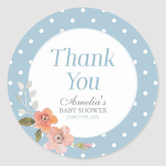 Blue Polka Dot with Delicate Floral Thank You Round Sticker