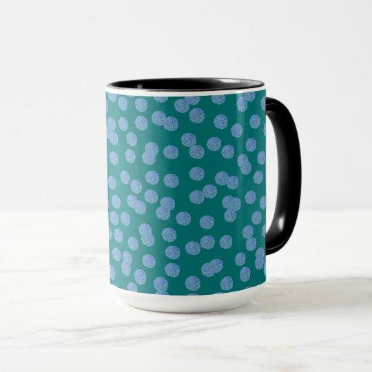 Blue Polka Dots 15 oz Ringer Mug