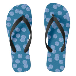 Blue Polka Dots Adult Wide Straps Flip Flops