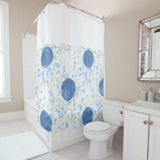 Blue Polka Dots and White Shower Curtain