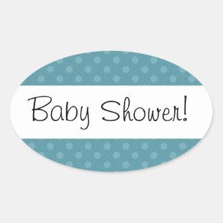 Blue Polka Dots Baby Shower V02 Oval Sticker