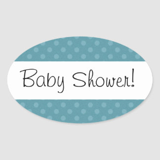 Blue Polka Dots Baby Shower V02 Oval Stickers