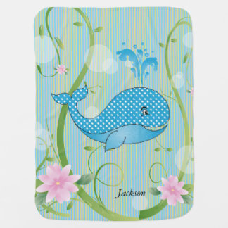 Blue Polka Dots Baby Whale Baby Blankets