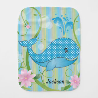 Blue Polka Dots Baby Whale Baby Burp Cloth