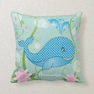 Blue Polka Dots Baby Whale Throw Pillows