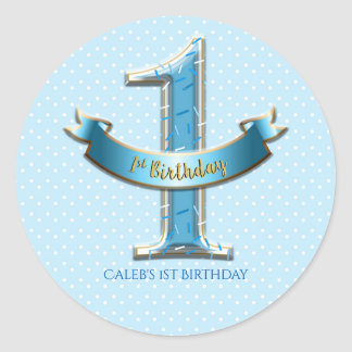 Blue Polka Dots & Banner ONE 1st 1 Birthday Party Classic Round Sticker