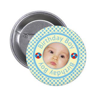 Blue Polka Dots Birthday Boy Photo Pinback Button