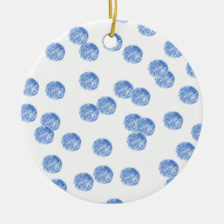 Blue Polka Dots Circle Ornament