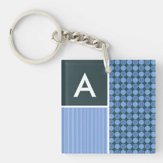 Blue Polka Dots Double-Sided Square Acrylic Key Ring