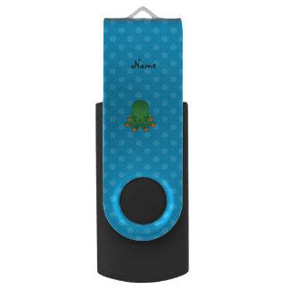 Blue polka dots green octopus swivel USB 2.0 flash drive