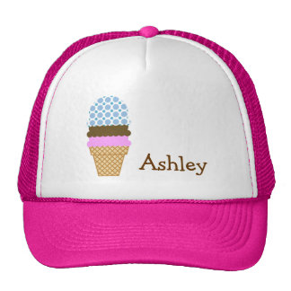 Blue Polka Dots; Ice Cream Cone Cap