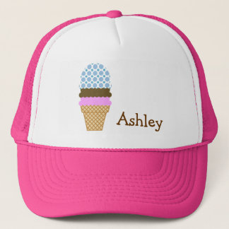 Blue Polka Dots; Ice Cream Cone Trucker Hat