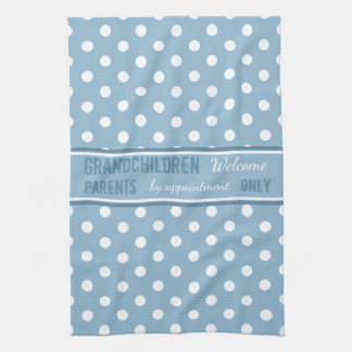 Blue polka dots Kitchen Grandparents Tea Towel