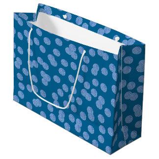 Blue Polka Dots Large Glossy Gift Bag