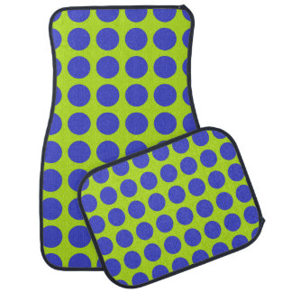 Blue Polka Dots Lime Green Car Mat