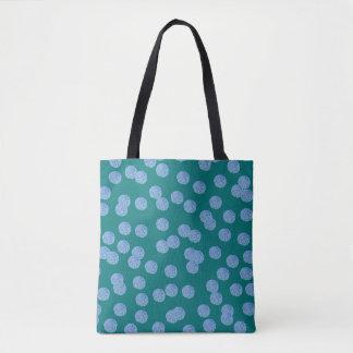 Blue Polka Dots Medium All-Over Print Tote Bag