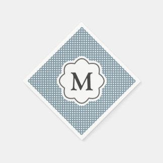 Blue Polka Dots Monogram Napkins Paper Serviettes