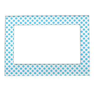 Blue Polka Dots on White Magnetic Frame