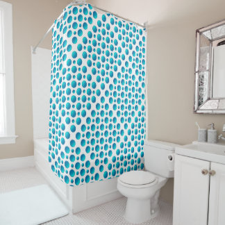 blue polka dots pattern shower curtain